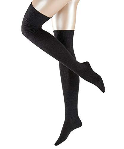 FALKE Damen Overknees Striggings, Schurwolle/Baumwollmischung, 1 Paar, Grau (Anthracite Melange 3089), Größe: 37-38