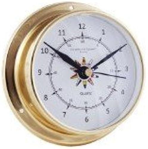 ALCIUMPECHE Horloge Marine 12 Heures - Laiton Fond Drapeau 115 mm