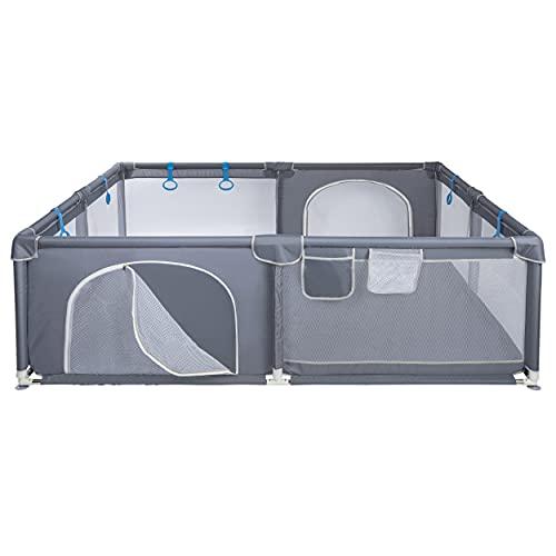 ONVAYA Parque infantil para bebés, 160 x 200 cm, rejilla de protección para niños, rectangular, barrera de seguridad, sin sustancias nocivas
