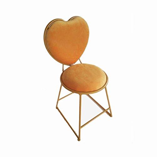 YUiiTI stoel in hartvorm van ijzer, eetkamerstoel, stoelen, rugleuning voor meisjes thuis, decoratie van de kamer Alacena stoel make-up stoel, goudkleurig frame
