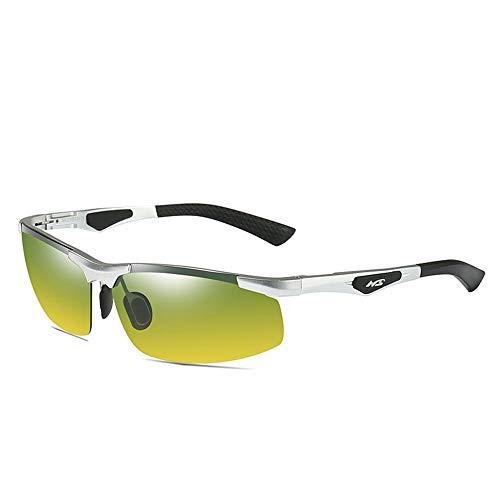 KDOAE Gafas de Sol Deportivas Hombres de Aluminio y magnesio Gafas de Sol polarizadas antideslumbrante Gafas de Sol de conducción for alegrar visión Nocturna Hombres Mujeres