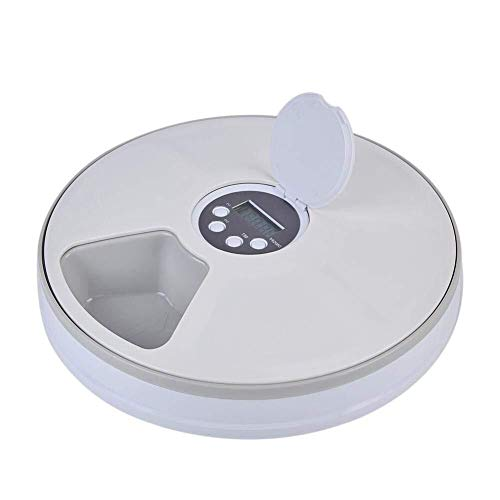 Niubiyacww New Machinelike Pet Feeder Timing 6 Grid Food Room for Dog Cat Rabbit and Small Beast Dry and Wet Food Plate