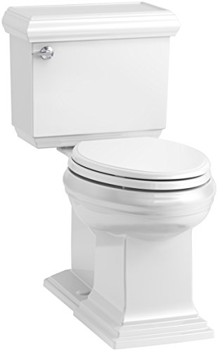 KOHLER K-6999-0 Memoirs Classic Comfort Height Elongated 1.28 GPF Toilet with Aqua Piston Flush Technology, Concealed Trap Way and Left-Hand Trip Lever (2 Piece), White