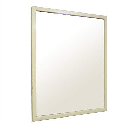 NaturalHouse W-4050 B ウォールミラー 木製 ミラー 壁掛け 幅 43 厚み 1.8 長さ 53 cm ホワイト 鏡 面 幅 39 長さ 49cm 天然木 フレーム 縦 横 吊り下げ 可 能