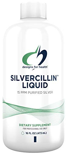 Designs for Health Liquid Silver - Silvercillin Pure Silver with Purified Water, 15ppm Non-Toxic Form of Silver - Non-GMO GI + Immune Support Supplement (95 Servings / 16oz)