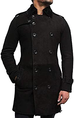 Brandslock Mens Luxury Spanish Merino Fur Sheepskin Belted Pea Coat German Navy Long Duffle Coat Ideal for Winter (XS, Black)