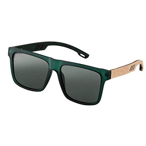 SHIYID Madera Nuevas Gafas de Sol cuadradas Gafas de Sol de Moda para Hombres Espejo Gafas de Sol Deportivas Conducción
