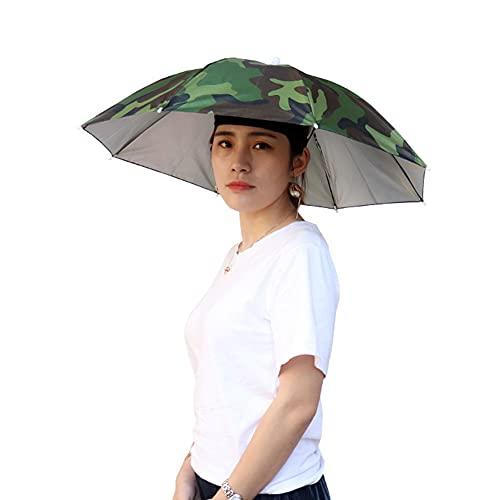 Xummy Faltbarer Sonnenschirm Hut, Angeln Regenschirm Hat,Kopfregenschirm-Hut mit Kopfband,Regenschirmhut für Golf Radfahren Angeln Gartenarbeit