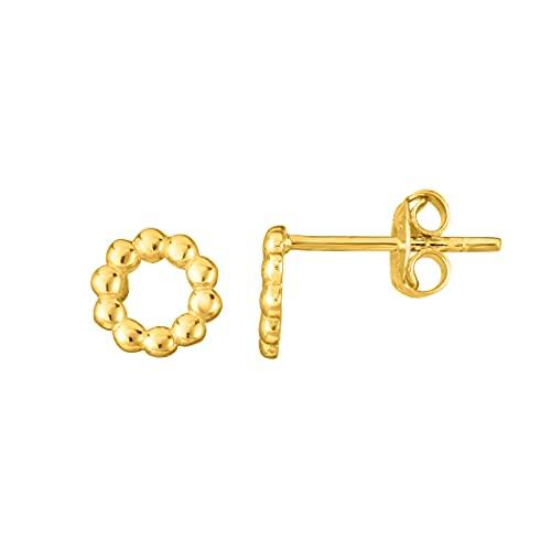 Pendientes de oro amarillo de 14 quilates con corte brillante/texturizado con cierre a presión para mujer