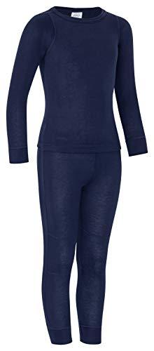 icefeld® - atmungsaktives Thermo-Unterwäsche Set für Kinder - warme Wäsche aus langärmligem Oberteil + Langer Unterhose Marineblau 158/164