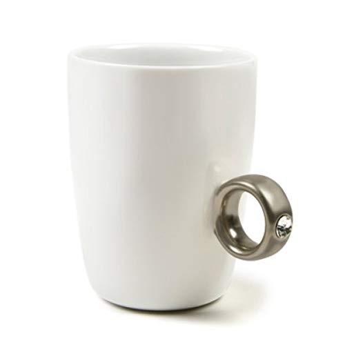 Erjialiu Kaffeetasse Ring kaffeetassen goldene Silber Ring Keramik Tasse Becher für Tee kaffeetasse 250 ml Reise kaffeetassen lustige tassen,Silberring