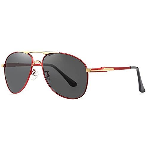 DovSnnx Unisex Polarizadas Gafas De Sol 100% Protección UV400 Sunglasses para Hombre Y Mujer Gafas De Aviador Gafas De Ciclismo Ultraligero Toad Espejo Rojo Oro Marco Lente Gris