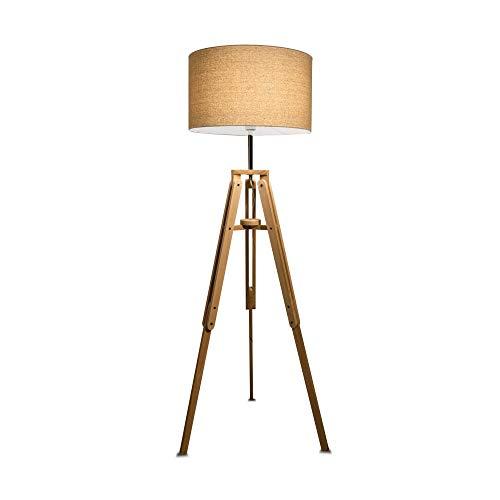 Lámpara de pie de 1 luz, madera