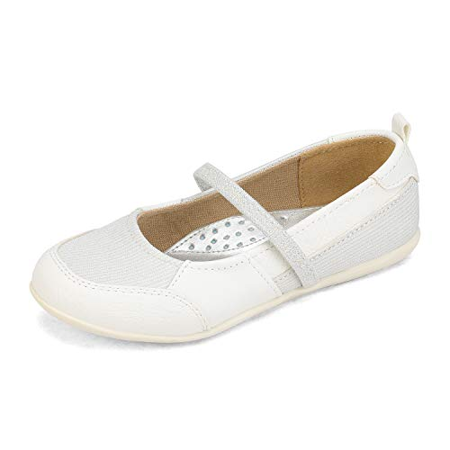 DREAM PAIRS Girls Slip On Dress Shoes Elastic Strap Mary Jane Ballet Flats White Size 13 Little Kid SASA-2