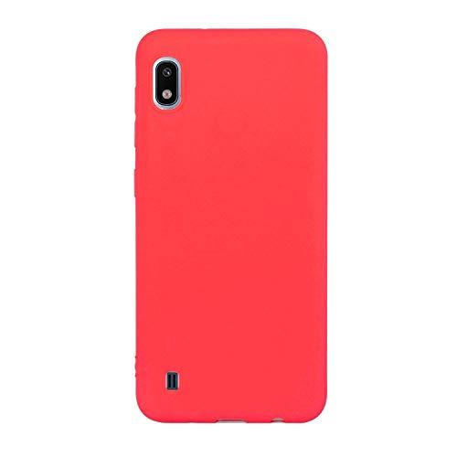 CUZZCASE Funda para Samsung Galaxy A10+{Protector de Pantalla de Vidrio Templado} Carcasa Silicona Suave Gel Rasguño y Resistente Teléfono Móvil Cover-Rojo