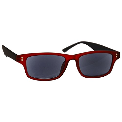 UV Reader Gummiertes Rot Schwarz Sonnen-Leser Lesebrille UV400 Herren Frauen UVSR033 +1,50