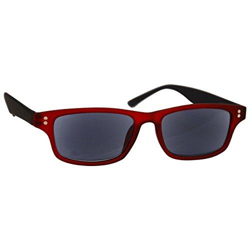 UV Reader Gummiertes Rot Schwarz Sonnen-Leser Lesebrille UV400 Herren Frauen UVSR033 +1, 50 / Gummiertes Rot / Schwarz
