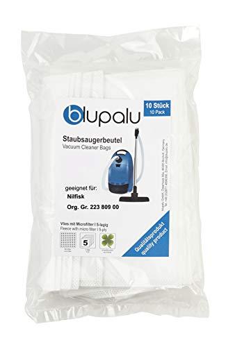 blupalu I Staubsaugerbeutel für Staubsauger Nilfisk Org. Gr. 223 809 00 I 10 Stück I mit Feinstaubfilter