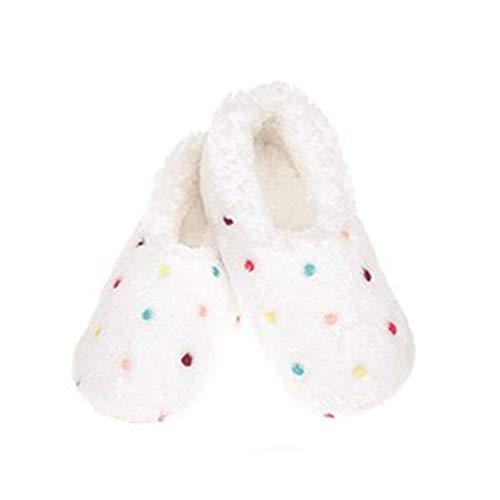 Snoozies Lotsa Dots Damen Sherpa-Fleece-Hausschuhe mit weicher, rutschfester Sohle, Weiß - weiß - Größe: 38/39 EU