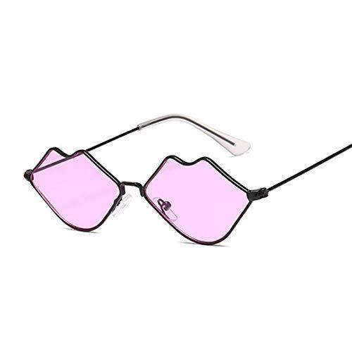 DNAMAZ Pequeño Marco Gafas de Sol Mujeres Retro Labios Espejo Metal Gafas de Sol Femenino Vintage (Lenses Color : BlackPurple)