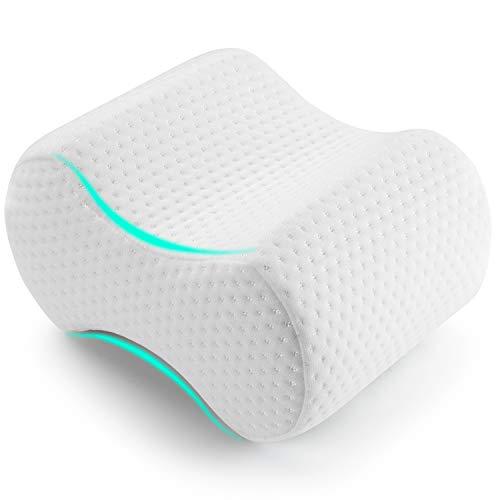 AMERIERGO Memory-Schaumstoff-Kniekissen zur Schmerzlinderung in Rücken, Hüfte, Beinen und Knie & geeignet für Seitenschläfer, Schwangere… (Weiße)
