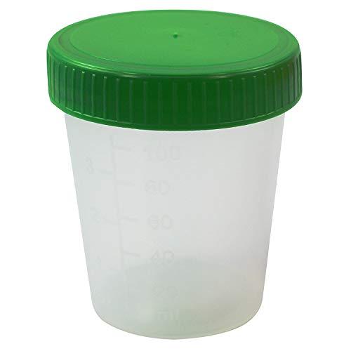 50 Stk./Pack - Urinbecher 125ml mit grünem Schraubdeckel