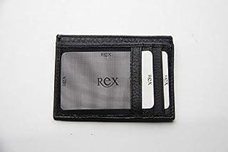 ريكس جلد صناعي اسود للرجال - محفظة بطاقات الائتمان