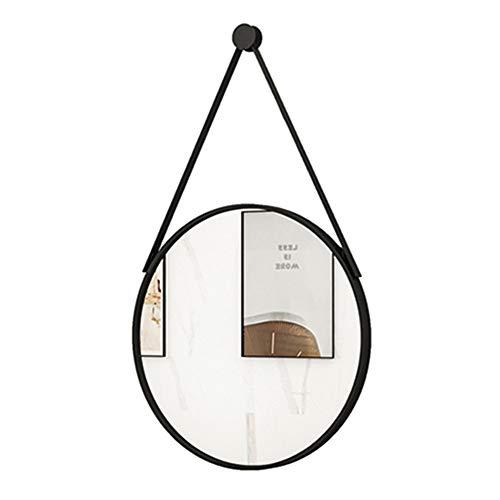 LCAIHUA Espejos De Pared Colgante, Espejos de Pared Redondo Colgante Hierro Forjado Decorativo Espejo de Vanidad con Cadena para Viviente Habitación Pasillo Baño Espejos