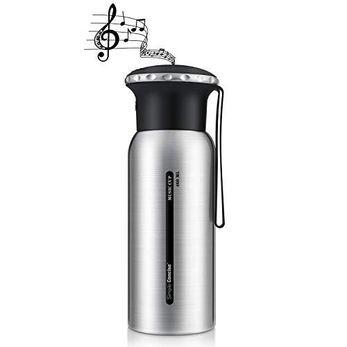 PUAIDA - Termo (460 ml), botella de agua al vacío, taza térmica de acero inoxidable 304 con tapa de altavoz, botella de sellado inteligente, ideal para calor y frío