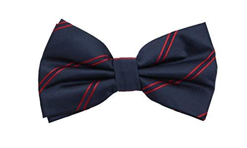 Fabio Farini - Elegantes pajaritas de hombre a rayas para cualquier ocasión como una boda, una confirmación, un baile de graduación Azul marino, rojo vino