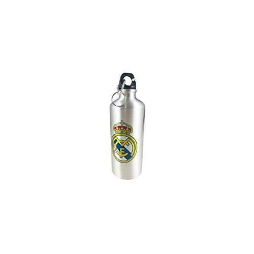 Cantimplora Aluminio 500ml con mosqueton Real Madird Plateada
