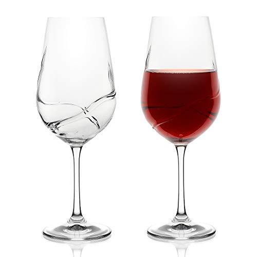 Bar Amigos-Juego de 2 turbulencia Deluxe Bohemia Cristal copas de vino Decanting única, diseño especial de diseño en forma de S para una mejor ventilación, 550ML / 19.3 ounce Bordeaux