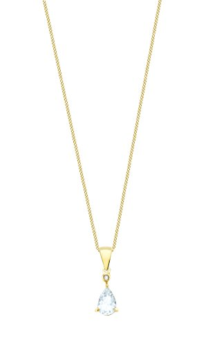 Carissima Gold 9ct Yellow Gold 0.42ct Diamond and Aquamarine Pear Shaped Pendant on Curb Chain Necklace of 46cm/18″