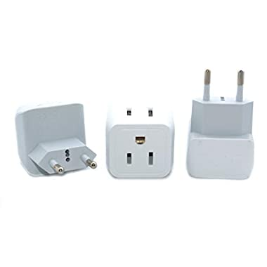 Ceptics CT-9C USA to Most of Europe Travel Adapter Plug - Type C (3 Pack) - Dual Inputs - Ultra Compact (Does Not Convert Voltage)
