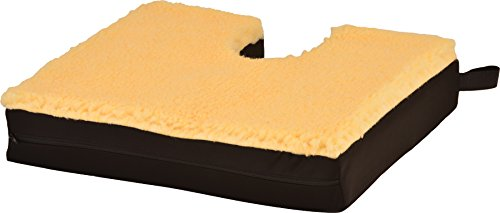 NOVA Sheep Skin Top  Coccyx Gel & Memory Foam Seat & Wheelchair Cushion, Thick Fleece Everyday Seat Cushion with Removable Cover, 3 Thick Gel Memory Foam Seat Pad with Attachment Straps