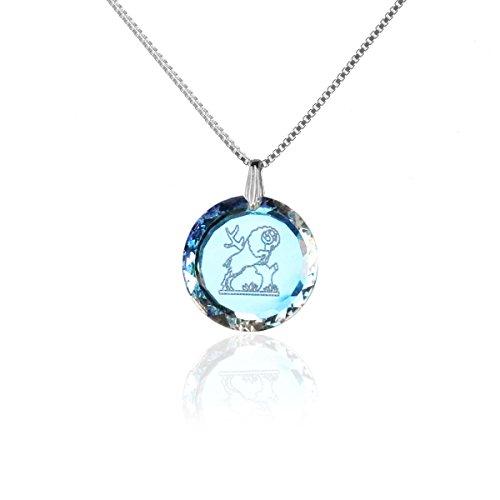 Silberkette Halskette 925 Silber Sternzeichen Tierkreiszeichen Widder hergestellt mit Swarovski®Kristall