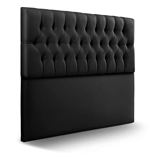 SUENOSZZZ-ESPECIALISTAS DEL DESCANSO Cabecero de Cama de 150 Modelo Copenhague, Color Negro 160x120 | Cabezal Madera de Gran Acolchado con capitoné tapizado en Polipiel