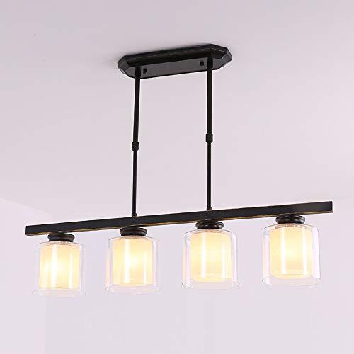Naiyn 4-Head Simplicity E27 Retro Lámpara Colgante Nordic Vintage Black Glass Chandelier para Sala de Estar Cocina Loft Dormitorio Lámpara Colgante Suspensión Accesorio de iluminación