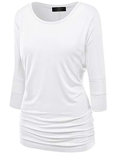 Made By Johnny MBJ WT822 Womens 3/4 Sleeve with Drape Top S White