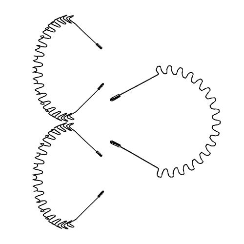 litulituhallo Diadema de metal unisex con cabeza negra, ondulada, antideslizante, para hombres y mujeres, paquete de 3