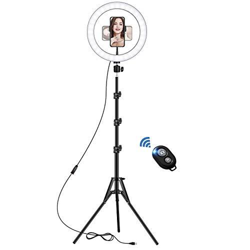 Luce ad Anello LED con Stativo Treppiede, 10 Pollice Dimmerabile Selfie Ring Light, 3 Modalità Colore e 10 Luminosità, Supporto Porta Cellulare per YouTube Video, Streaming Live, Trucco, Fotografia