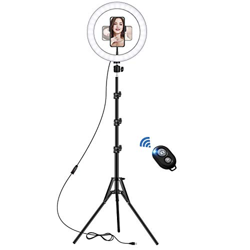 LED Ring Light with Tripod Stand, 10 inch Dimmable Ring Light, 3 Color Modes and 10 Brightness, USB Powered, Phone Holder for Live Streaming, Makeup, Selfie, Tiktok, Zoom Meeting