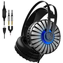 Gaming Headset Compatible PS4, Xbox One, Nintendo Switch, PC, etc. Stereo Surround Sound LED Over-Ear Wired Gaming Headset, Noise-Canceling Microphone