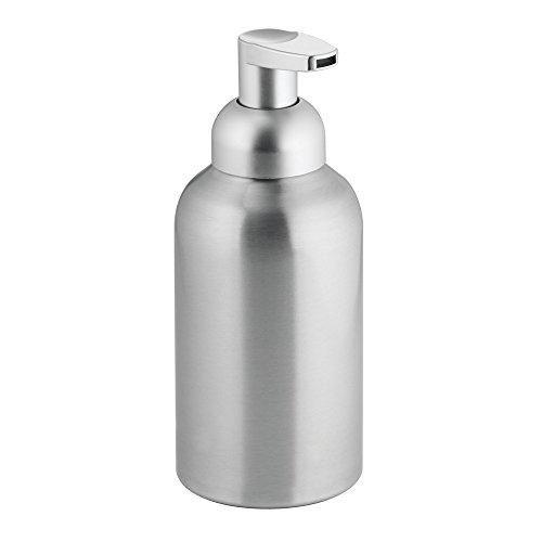 InterDesign Metro distributeur savon mousse - grande pompe mousse savon en aluminium et plastique - argenté mat
