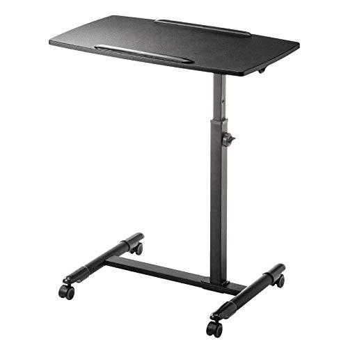 Accesorio para escritorio de pie de aleación de aluminio con MDF negro, altura ajustable, ruedas con cerradura, escritorio de cama para estudio para dormitorio, sala de estar, sofá, mesa de regazo móv