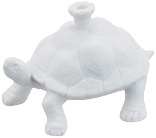 DONKEY Products Happy Zoo Day Moa, Kerzenständer Schildkröte, inkl. 4 Kerzen, Porzellan, Weiß, 13 cm, 210791