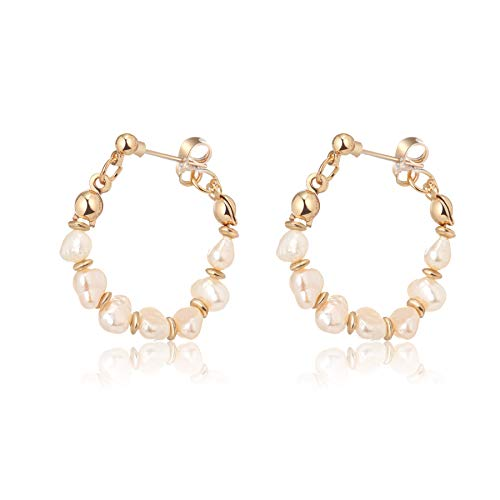 Pearl Hoop Vintage Earring Silver Handmade Culture Barque Dainty Circle Dangle Geometric Hypoallergenic 18K Gold Plated Jewelry for Women
