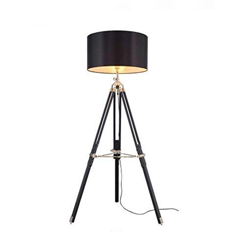 JAYLONG E27 lampe de sol, européen et américain de luxe en acier inoxydable trépied Gentleman/lampe de table réglable en bois, salon LED Chambre Designer Lampadaire, noir
