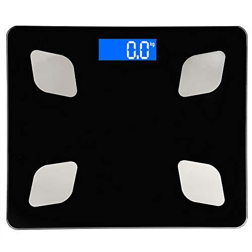 WAQU Báscula Báscula Digital portátil Báscula de pesaje electrónica Inteligente Báscula de Grasa Corporal para función Bluetooth 3 kg-180 kg