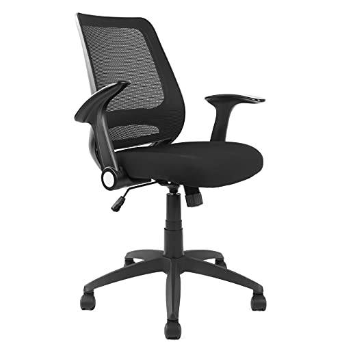 Ergonomic Office Chair, Mesh Desk Chair Comfortable, Swivel Rolling Task Chair with Flip-up Arms Height Adjustable, Mid Back Computer Chair for Home Office (Black)